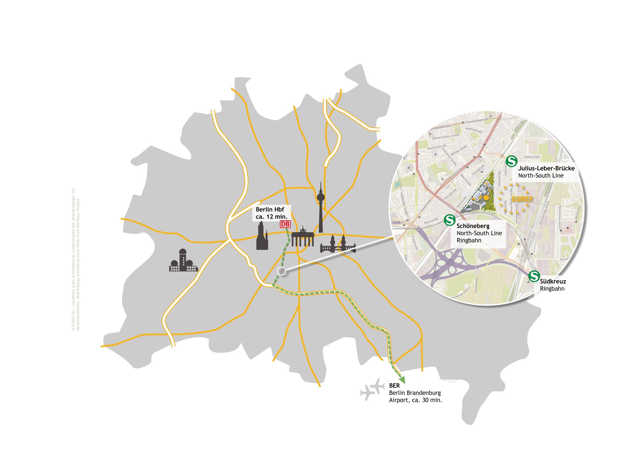 Anfahrt EUREF-Campus © EUREF AG